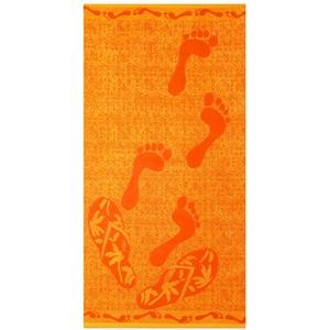 Betz Velours Strandtuch Duschtuch Badetuch XXL 100% Baumwolle Größe 75x150cm Dessin: FÜßE Farbe: orange