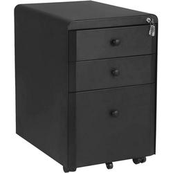 Woltu Rollcontainer, Rollcontainer mit 3 Schubladen aus Metall schwarz