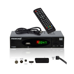 PremiumX FTA 530C FullHD Digitaler DVB-C TV Kabel Receiver Auto Installation USB Mediaplayer SCART HDMI WLAN optional Kabelfernsehen für jeden Kabel-Anbieter geeignet Kabel-Receiver
