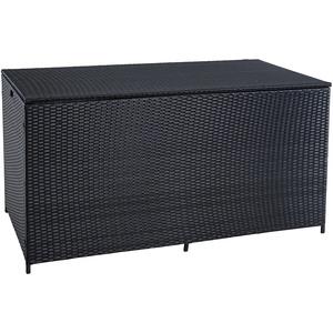 ESTEXO Polyrattan Auflagenbox XXL Kissenbox Gartenbox Gartentruhe Aufbewahrungsbox Auflagentruhe Aufbewahrungstruhe Kissentruhe (Schwarz)