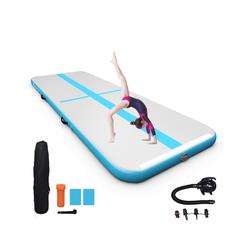 COSTWAY Gymnastikmatte Gymnastikmatte, 3M Air Track mit elektrischer Pumpe, aufblasbarer, Tumbling Matte inkl. Tragetasche, Turnmatte blau
