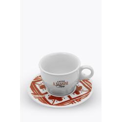 Caffè A. Nannini Cappuccinotasse mit roter Untertasse