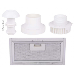Abluft Set 4-teilig mit Dachschornstein, Ventilator, Adapter, Filter