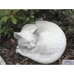 BAD-005 Katzen Gartenfigur als Gartendeko Kater Django Katzenfigur 29cm 10kg (Farbe: weiss)