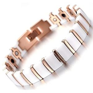 Magnetisches Keramikarmband - Athena weiß und Kupfer 16,9 cm - Anti-Schmerz-Armband - Arthritis-Armband - Magnetfeldtherapie - Magnetarmband – Energiearmband