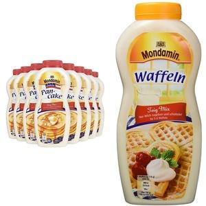 Mondamin Shaker American Pancake, 8er Pack (8 x 215 g) & Waffeln Teig-Mix Flasche für 5-6 Waffeln, 8er-Pack (8 x 230g)