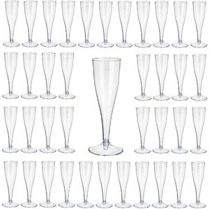 Gastro-Bedarf-Gutheil 20 Einweg Sektgläser , glasklar mit Eichstrich 0,1l /Champagnergläser / Sektkelche / Sektglas mit Steckfuß 2-teilig.