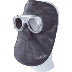 VULKAN Schweiß Ledermaske Schweißer Lederhaube Schweißermaske Schweißschutzmaske - Größe:lang, Ausführung:mit Haube