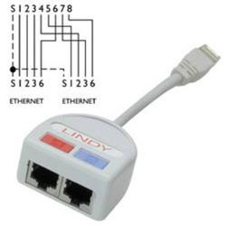 Lindy 34012 Port Doubler STP 2x Fast Ethernet 10/100 über nur ein 8-adriges Kabel