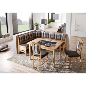 SCHÖSSWENDER Essgruppe Tulln, Eckbank ist umstellbar, Eckbank hat eine Truhe, Tisch mit Auszug 120(160) cm