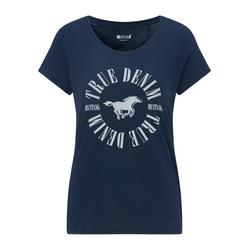 MUSTANG Damen T-Shirt ' Shirt mit Logo-Print ' blau