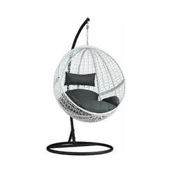 Rattan Hängesessel mit Gestell inkl. Kissen - Sitzhängematte, Hängematte, Hängestuhl - weiß