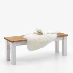Skandinavische Holzbank in Weiß Kiefer massiv ohne Lehne