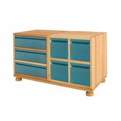 BioKinder - Das gesunde Kinderzimmer Kommode Laura, Spar-Set: Mini-Kommode, Erle und Kiefer blau blau
