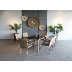 Ploß Gartenmöbelset WINDSOR, (7-tlg), 6 Stühle, 1 Tisch 120x80 cm