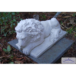 SA-N911 Gartenfigur kleiner Löwe liegend liegende Löwenfigur 45cm 18kg (Farbe: weiss)