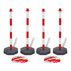 vidaXL Absperrpfosten vidaXL Set von 4 Absperrpfosten und 2 Kunststoff-Ketten von je 10 m