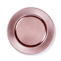 INGE-GLAS® Dekoteller, Dekoteller Kunststoff mit gerilltem Rand 33cm rosa rosa
