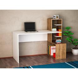 moebel17 Schreibtisch Schreibtisch Side Weiß Walnuss