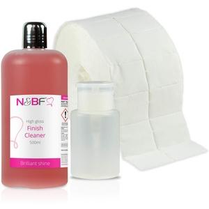 N&BF High Gloss Finish Nagel Cleaner mit Duft 500ml + Dispenser (Weiss) + 1000 Zelletten Pads (2 Rollen à 500 Stück) Isopropanol-Alkohol & pflegenden Öle – für Gelnägel Nail-Cleaner (Kirsche)