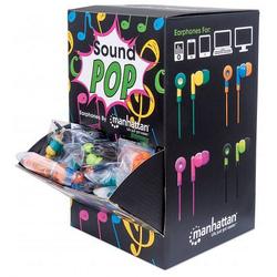 MANHATTAN SoundPOP Thekendisplay für in-Ear-Kopfhörer 40 einzeln verpackte Kopfhörer grüngelb blauorange pinklila und schwarzgrün 178822