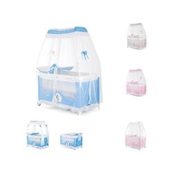 Chipolino Baby-Reisebett Reisebett und Laufstall Sahara, Wickelauflage, 2 Ebenen, mit Betthimmel blau