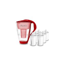 PearlCo Wasserfilter Glas Inkl. 6 Filterkartuschen rot
