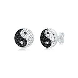 Ohrringe Yin Und Yang Symbol Swarovski® Kristalle Silber Elli Bunt