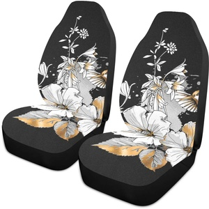 Car Seat Covers 1PC Front Seats Exotic Tropical Hibiscus Flowers Hummingbirds Gold Automotive Seat Covers With Back Pocket Seat Protector Car Mat Covers Full Fit Most Vehicle, Cars, Sedan, Truck, Su