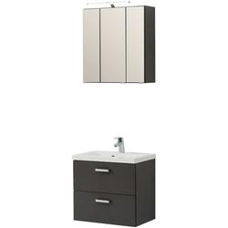 HELD MÖBEL Badmöbel-Set Montreal, (3-tlg), bestehend aus Spiegelschrank, Waschbeckenunterschrank und Waschbecken grau