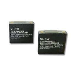 vhbw 2x Akku passend für GN Netcom Jabra GN9125 Mini wireless Headset Kopfhörer (340mAh, 3.7V, Li-Polymer)