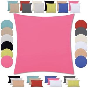 Bestlivings Kissenhülle, Kissenbezug mit wahlweise einem Innenkissen, Optik: Satin matt, viele versch. Größen rosa eckig - 50 cm x 50 cm