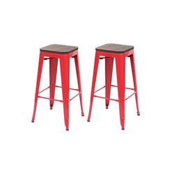 MCW Barhocker MCW-A73-Barhocker (Set, 2er), 2er-Set, Stapelbar, Fußstütze für bequemeres Sitzen rot