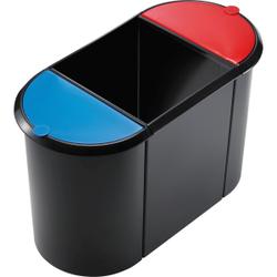 helit Papierkorb Trio-System the triple, 20 + 9 + 9 Liter, Hochwertiger Trio-System Papierkorb mit umlaufendem Griffrand, Farbe: schwarz rot/blau