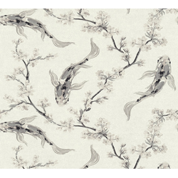 Vliestapete Asian Fusion, geprägt, asiatisch, floral grau
