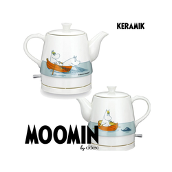 MOOMIN Wasserkocher 19130007 Keramik Wasserkocher by ADEXI Wasserkocher in Teekannen-Form, Mumin Design,Fishing Design, 0.80 l, 1750 W