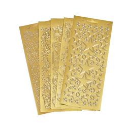 VBS Sticker Reliefsticker-Set Xmas, 5 Blatt goldfarben
