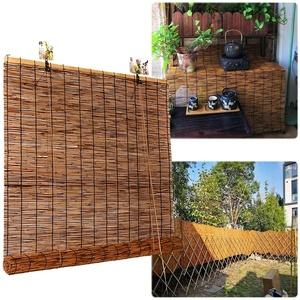 Bambusrollo Outdoor - Rollo Bambus Ohne Bohren, Sonnenschutz, Sichtschutz, Holzrollo Für Fenster, Pavillon, Balkon, Außenbereich Bambu Jalousien,110 x 250 cm (43 x 10 in)