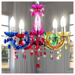 etc-shop Kronleuchter, LED 15 Watt Hängeleuchte Hängelampe Kronleuchter Deckenbeleuchtung Innenbeleuchtung Lampe Chrom bunt