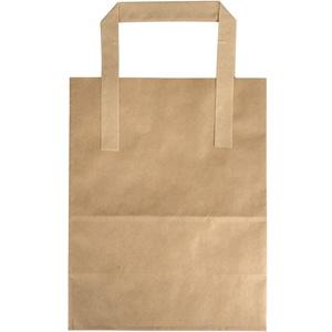 Papirsbærepose DSB 18x10x22cm 6L 70g brun m/hank 500stk/pak - (500 stk.)