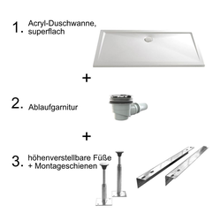 HSK Acryl-Duschwannen-Set, superflach 90 × 120 × 3,5 - 4,5 cm… Weiß
