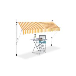 relaxdays Klemmmarkise Klemmmarkise gelb weiß 300 cm x 120 cm x 300 cm