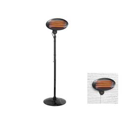 Tristar Terrassenstrahler, 2000 W, Elektro 2in1 Terrassenheizung 3 Heizstufen, elektrischer Heizstrahler Zusatzheizung mit Standfuß oder Wandmontage