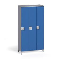 Dreiteiliger kleiderschrank 1750 x 900 x 400 mm, grau/blau