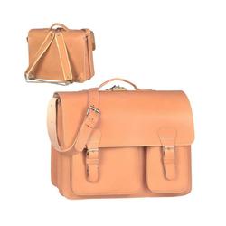 Ruitertassen Aktentasche Classic Satchel, 40 cm Lehrertasche mit 2 Fächern, auch als Rucksack zu tragen, dickes rustikales Leder natur
