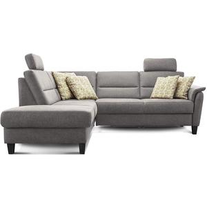 Cavadore Schlafsofa Palera mit Federkern / L-Form Sofa mit Schlaffunktion / 236 x 89 x 212 / Büffellederoptik Hellgrau