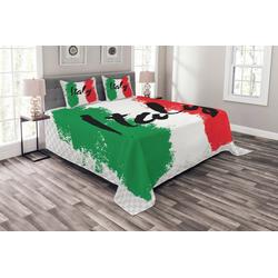 Tagesdecke Set mit Kissenbezügen Waschbar, Abakuhaus, Italien Italienische Flagge Bunte Grunge 220 cm x 220 cm
