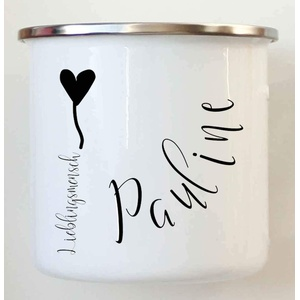 Zarto Emaille Tasse Becher - Geschenk Beste Freundin - Tasse mit Namen - Kinder Becher - Emaille Becher - Camping Tasse Kaffeebecher Metall - Blechtasse Retro personalisiert (Emailletasse Danke)
