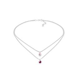 Elli Kette mit Anhänger Choker Layer Kristalle Rund 925 Silber, Kristall Kette rosa