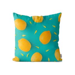 Kissenbezug, VOID (1 Stück), Zitronenmuster Kissenbezug Früchte Frucht Essen Kochen Küche Obst Gesund Sauer 80 cm x 80 cm